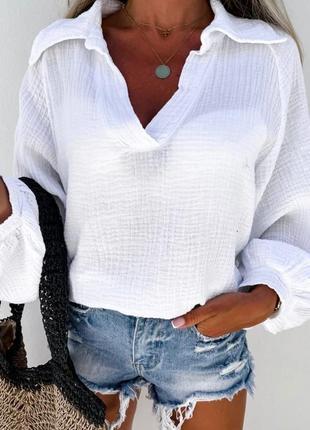 Рубашка норма полубатал муслин хлопок
