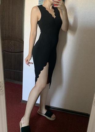 Чёрное миди платье с разрезом с v вырезом для беременных