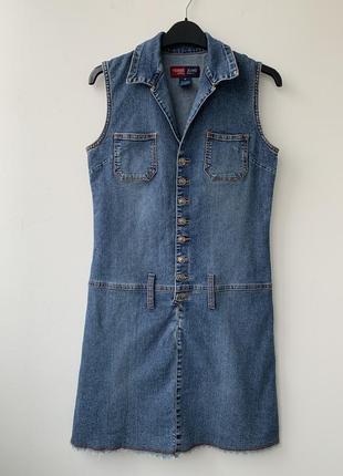 Платье джинсовое по фигуре короткое мини на пуговицах синее