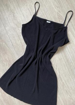 Платье в рубчик чёрного цвета