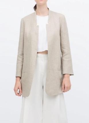 Удлиненный льняной  пиджак жакет zara