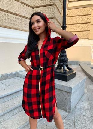 Платье-рубашка с капюшоном в клетку+пояс