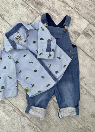 Комбинезон тонкая джинсовая ткань ,мягкая next, mothercare 6-9, рубашка 9-12 лен, комплект, пакет.