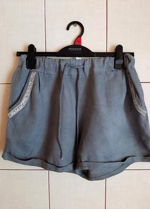 Серые пляжные шорты из 100% льна