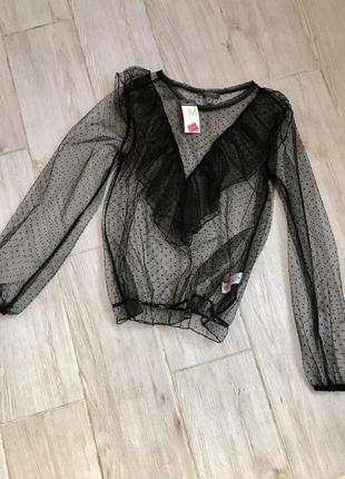 Блуза прозрачная с рюшами