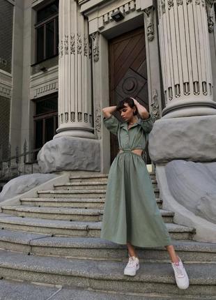 Шикарное льняное платье миди хаки