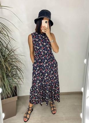 Женское летнее платье сарафан темно синий в цветочек штапель ниже колен