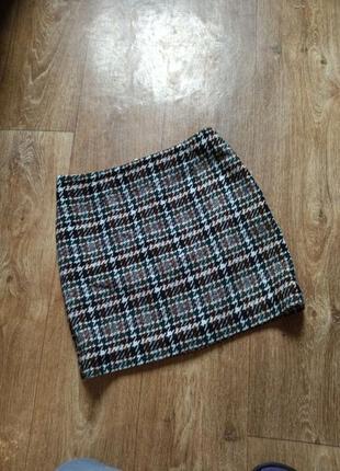 Теплая юбка в гусиную лапку
