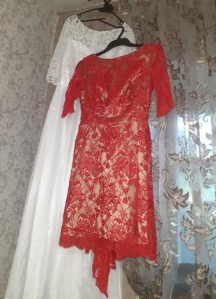 Кружевное вечернее платье с шлейфом миди королевское