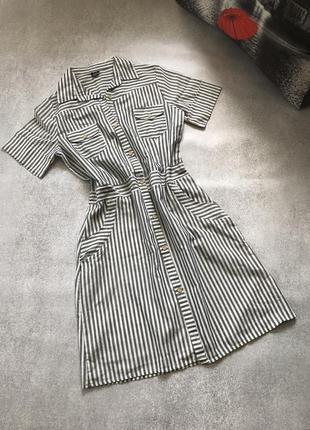 Платье рубашка в серую полоску