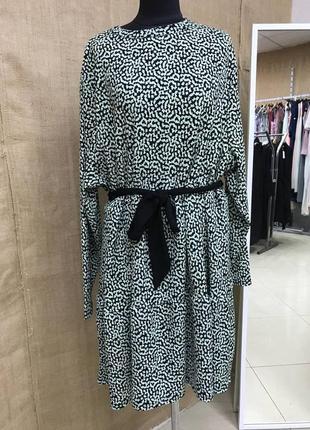 Летняя распродажа 🔥🔥🔥 батальное черное платье с зеленым принтом