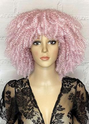 Парик афро розовый каре кудрявый омбре карнавальный для вечеринки/перука рожева кучерява для вечірки