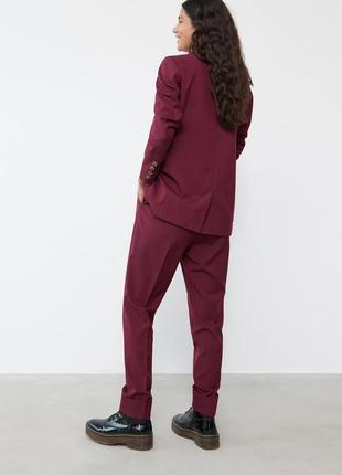 Новые бордовые штаны чиносы c высокой посадкой sinsay