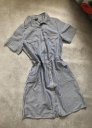 Платье рубашка в синюю полоску