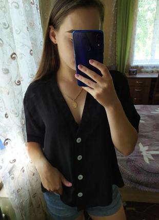 Черная  лёгкая рубашка