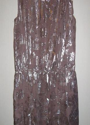 Шелковое платье с напуском, с серебряной нитью
