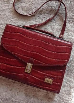 Винтажная сумка портфель под кожу крокодила feliciani