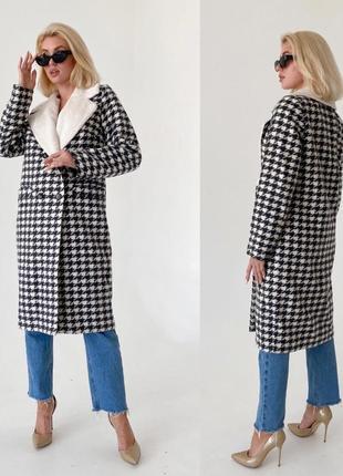 Зимнее шерстяное пальто наполнитель слимтекс гусиная лапка valentir
