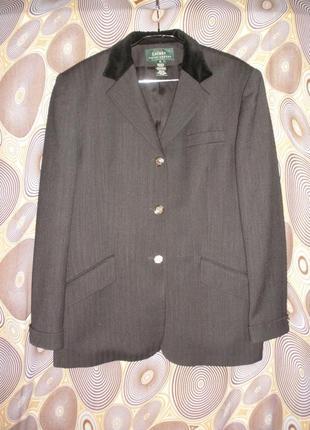 """Удлиненный однобортный жакет пиджак ralph lauren гладкой шерсти в """"елочку"""""""