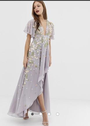 Платье макси с и объемной вышивкой на рукавах с оборками asos design