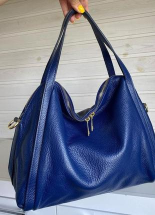 Сумка кожаная синяя мягкая genuine leather италия женская лазурь с короткими ручками на плечо темно синий vera pelle