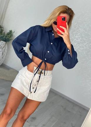 Модная женская рубашка укороченная