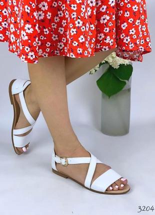 Босоножки белые кожаные сандали женские