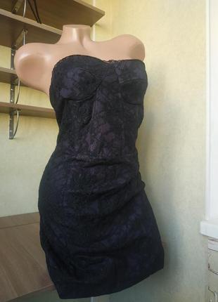 Вечернее котельное кружевное мини платье бюстье с открытыми плечами
