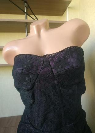 Вечернее котельное кружевное мини платье бюстье с открытыми плечами3 фото
