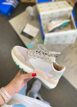 Adidas nite jogger white clean mint ice pink женские кроссовки