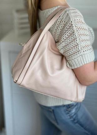 Натуральная кожа сумка женская на плечо розовая пудровая с длинным ремешком genuine leather италия бежевая