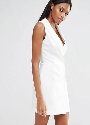 Белое платье блейзер пиджак на запах на заклёпки