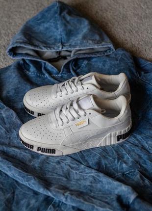Puma cali white black кроссовки пума кали женские белые обувь взуття кеды