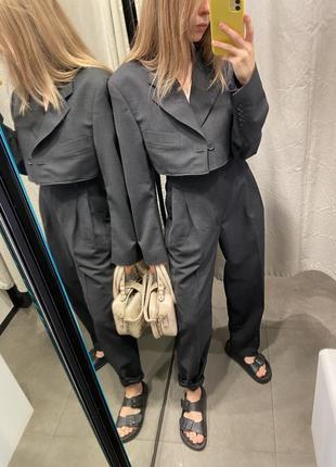 Костюм перешитый мужской винтаж укороченый пиджак юбка брюки с защипами yves