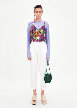 Топ блуза zara стильный цветочный принт лен летний8 фото
