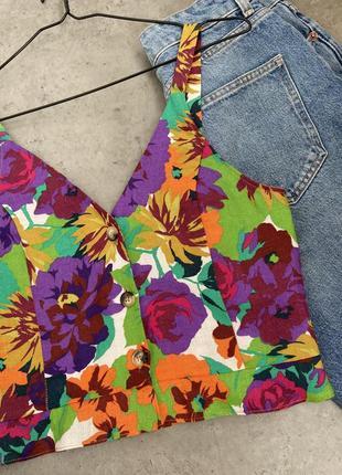 Топ блуза zara стильный цветочный принт лен летний2 фото