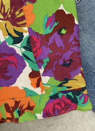 Топ блуза zara стильный цветочный принт лен летний3 фото