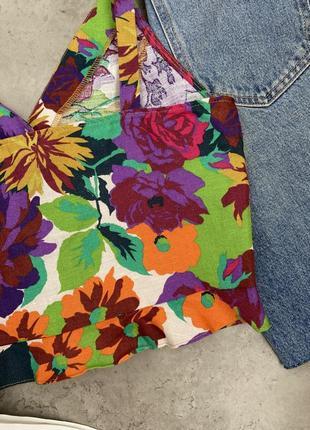 Топ блуза zara стильный цветочный принт лен летний6 фото