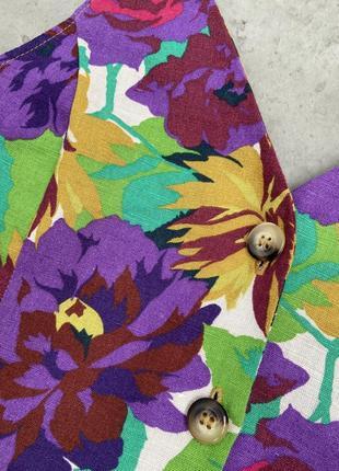 Топ блуза zara стильный цветочный принт лен летний5 фото