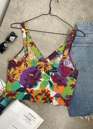 Топ блуза zara стильный цветочный принт лен летний4 фото