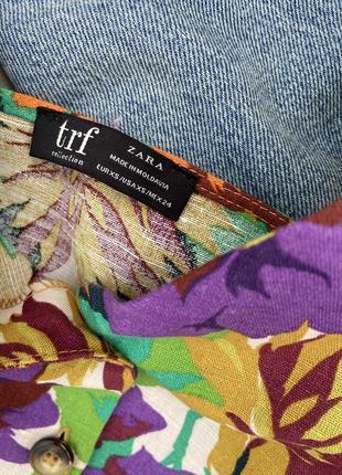 Топ блуза zara стильный цветочный принт лен летний7 фото