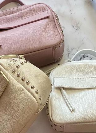 Итальянская кожаная натуральная сумочка чемоданчик женская на длинном ремешке genuine leather италия через плечо кроссбоди бежевая пудра лаванда