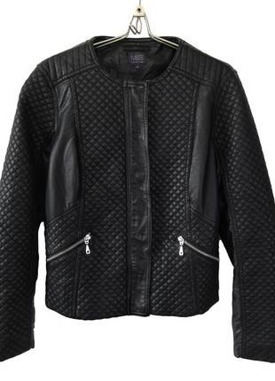 Стеганная куртка из эко-кожи на молнии р.14