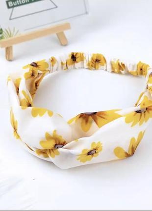 Белая чалма в подсолнухах текстильная повязка на голову резинка