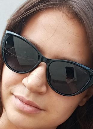 Стильные чёрные очки кошки очки лисички swarovski polarized антиблик стиль одри хепбёрн3 фото