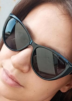 Стильные чёрные очки кошки очки лисички swarovski polarized антиблик стиль одри хепбёрн2 фото