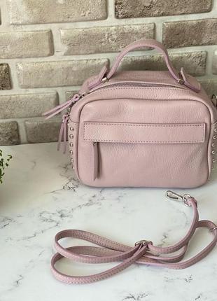 Сумка чемоданчик женская натуральная кожа кроссбоди через плечо на длинном ремешке genuine leather италия лавандовая розовая пудра бежевая