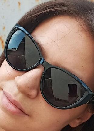 Стильные чёрные очки кошки очки лисички swarovski polarized антиблик стиль одри хепбёрн