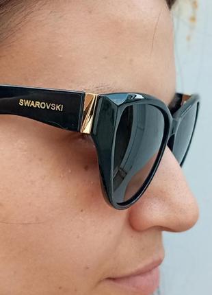 Стильные чёрные очки кошки очки лисички swarovski polarized антиблик стиль одри хепбёрн5 фото