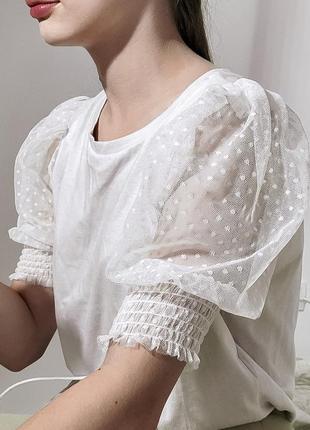 Базовая футболка с рукавами фонариками от zara